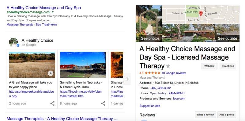 Google Post kartya keresőben történő megjeleneséről képernyőfotó