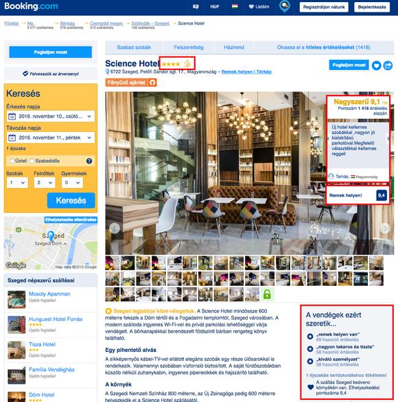 Science Hotel vevői értékelése a Booking.com-on: képernyőfotó